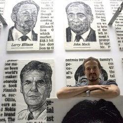 José María Cano exponiendo 'The Wall Street 100' en Londres