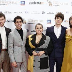 Álex de Lucas, Javier Ambrossi, Mariona Teres, Javier Calvo y Belén Cuesta en los Premios Iris 2018