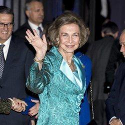 La Reina Sofía a su llegada a la entrega de unos premios de pintura en el Teatro Real
