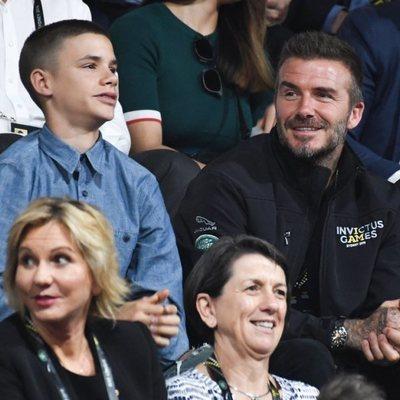 David Beckham con su hijo Romeo Beckham en los Juegos Invictus 2018