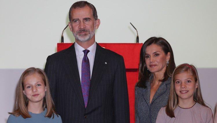 Los Reyes Felipe y Letizia, la Princesa Leonor y la Infanta Sofía en la lectura de la Constitución