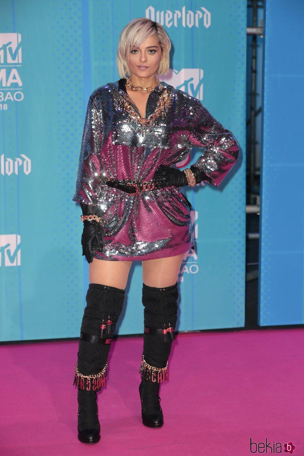 Bebe Rexha en la alfombra de los MTV EMAs 2018 de Bilbao