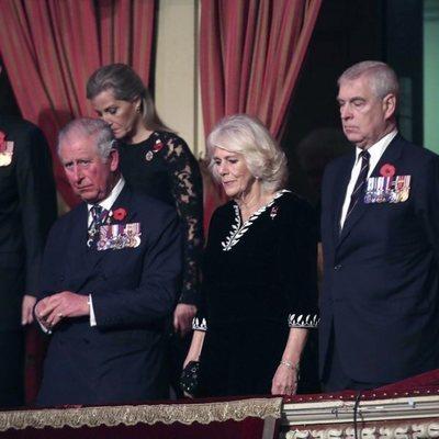 Los Condes de Wessex, los Duques de Cornualles, el Príncipe Andrés, Meghan Markle y Theresa May durante el Festival of Remembrance 201