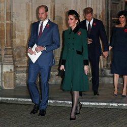 Los Duques de Cambridge y los Duques de Sussex en la misa por el centenario del final de la I Guerra Mundial