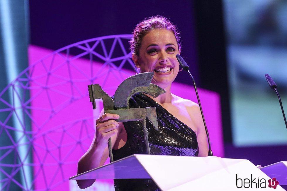 Patricia López Arnaiz recogiendo su galardón en los Premios Ondas 2018