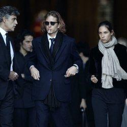 Andrea Casiraghi, Tatiana Santo Domingo y el padre de esta, Julio Santo Domingo en el funeral de Luigi d'Urso en 2006