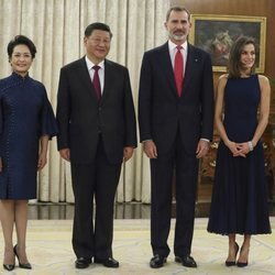 Los Reyes de España, el Presidente de China y su esposa en el Palacio de La Zarzuela