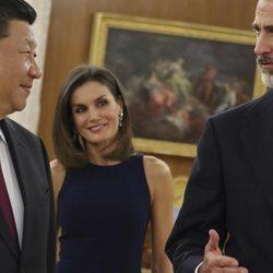 El Presidente de China junto a los Reyes de España en el Palacio de La Zarzuela