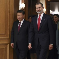 El Rey Felipe VI junto al Presidente de China en el Palacio de La Zarzuela