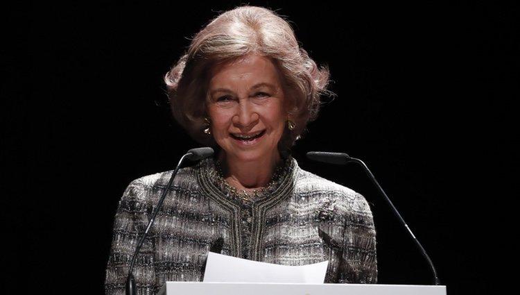 La Reina Sofía leyendo su discurso en los Premios Especial Solidarios ONCE 2018