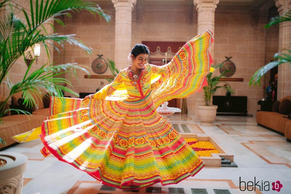 Priyanka Chopra en la celebración previa de su boda