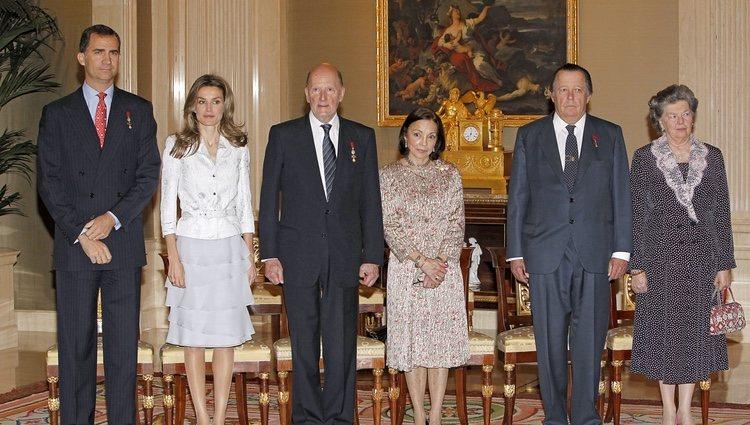 Los Príncipes de Asturias, los Reyes de Bulgaria y los Duques de Calabria en un acto oficial