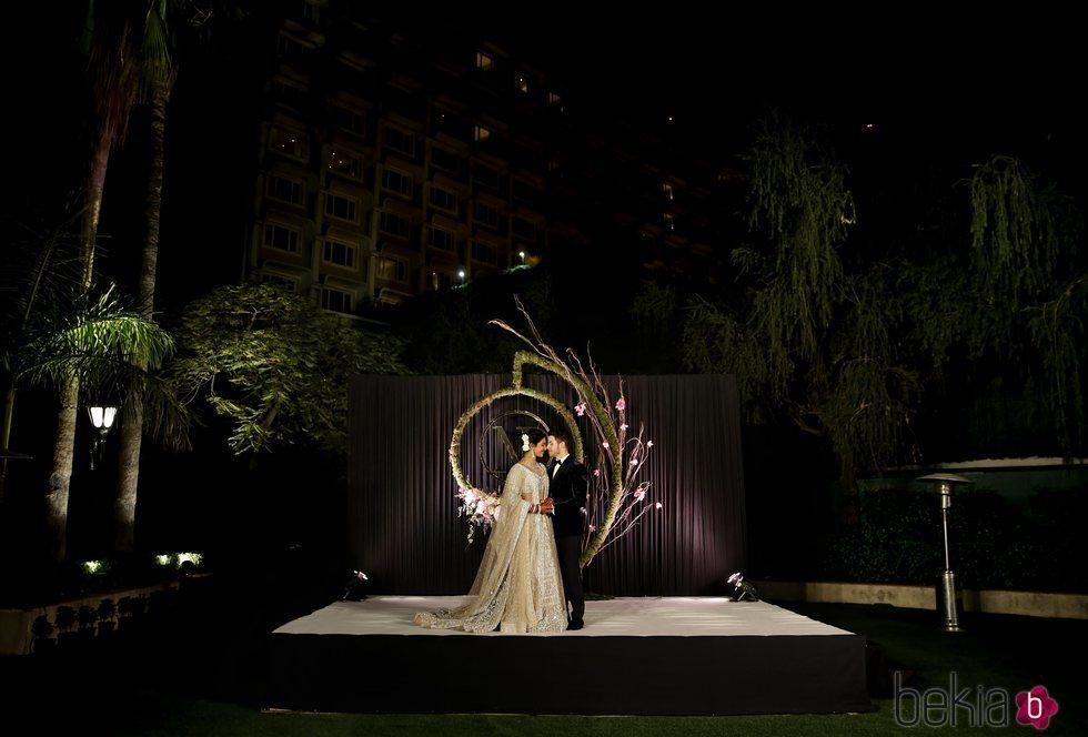 Nick Jonas y Priyanka Chopra en su recepción de boda en Nueva Delhi