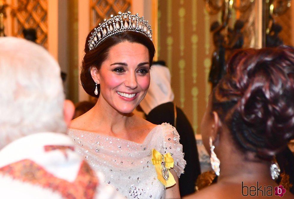 Kate Middleton con la Cambridge Lover's Knot Tiara en la recepción al Cuerpo Diplomático