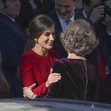 La Reina Letizia y la Reina Sofía, muy cómplices en el 40 aniversario de la Constitución Española