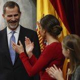 La Reina Letizia y la Princesa Leonor aplauden al Rey Felipe en el 40 aniversario de la Constitución