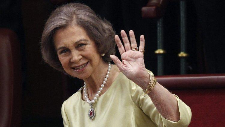 La Reina Sofía durante la proclamación de Felipe VI