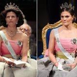 La Reina Silvia y la Princesa Victoria luciendo el mismo vestido en los Premios Nobel