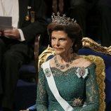 La Reina Silvia de Suecia en la gala de entrega de los Premios Nobel 2018