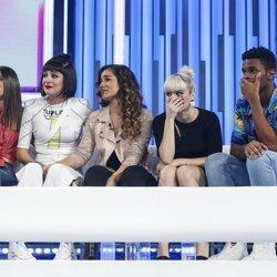 Sabela, Natalia, Julia, Alba Reche y Famous llorando en la gala 12 de 'OT 2018'