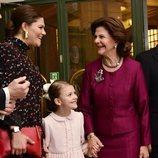 Victoria de Suecia, Estela de Suecia y Silvia de Suecia en el seminario por el 75 cumpleaños de Silvia de Suecia