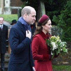 Los duques de Cambridge llegando a la Misa de Navidad 2018