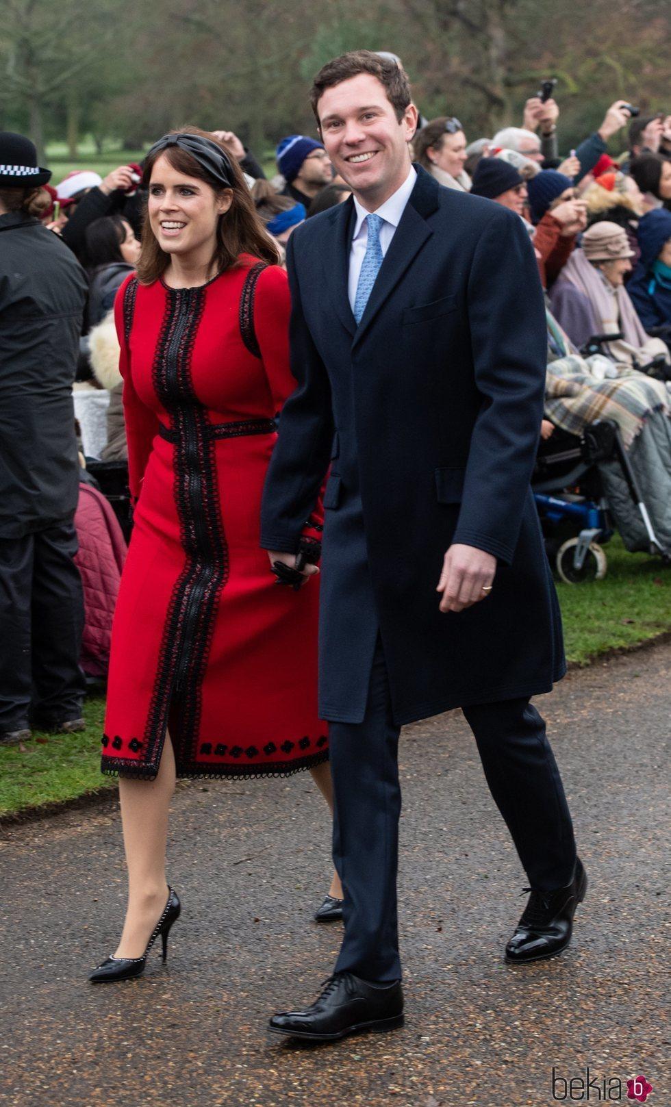 La princesa Eugenia de York y Jack Brooksbank llegando a la Misa de Navidad 2018