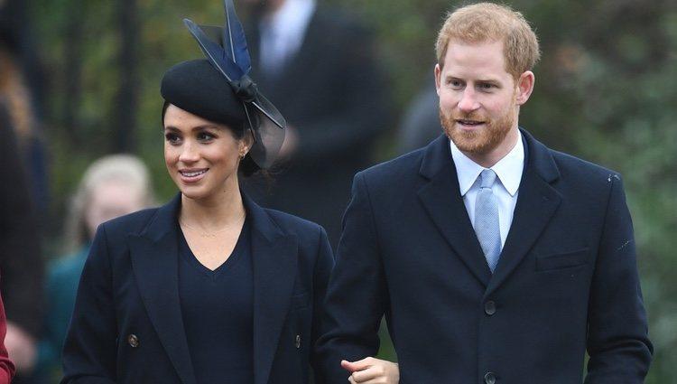 Los duques de Sussex llegando a la Misa de Navidad 2018