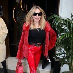 Ana Obregón saliendo de un restaurante en Madrid