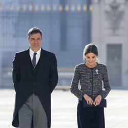 La Reina Letizia con Pedro Sánchez durante la Pascua Militar 2019