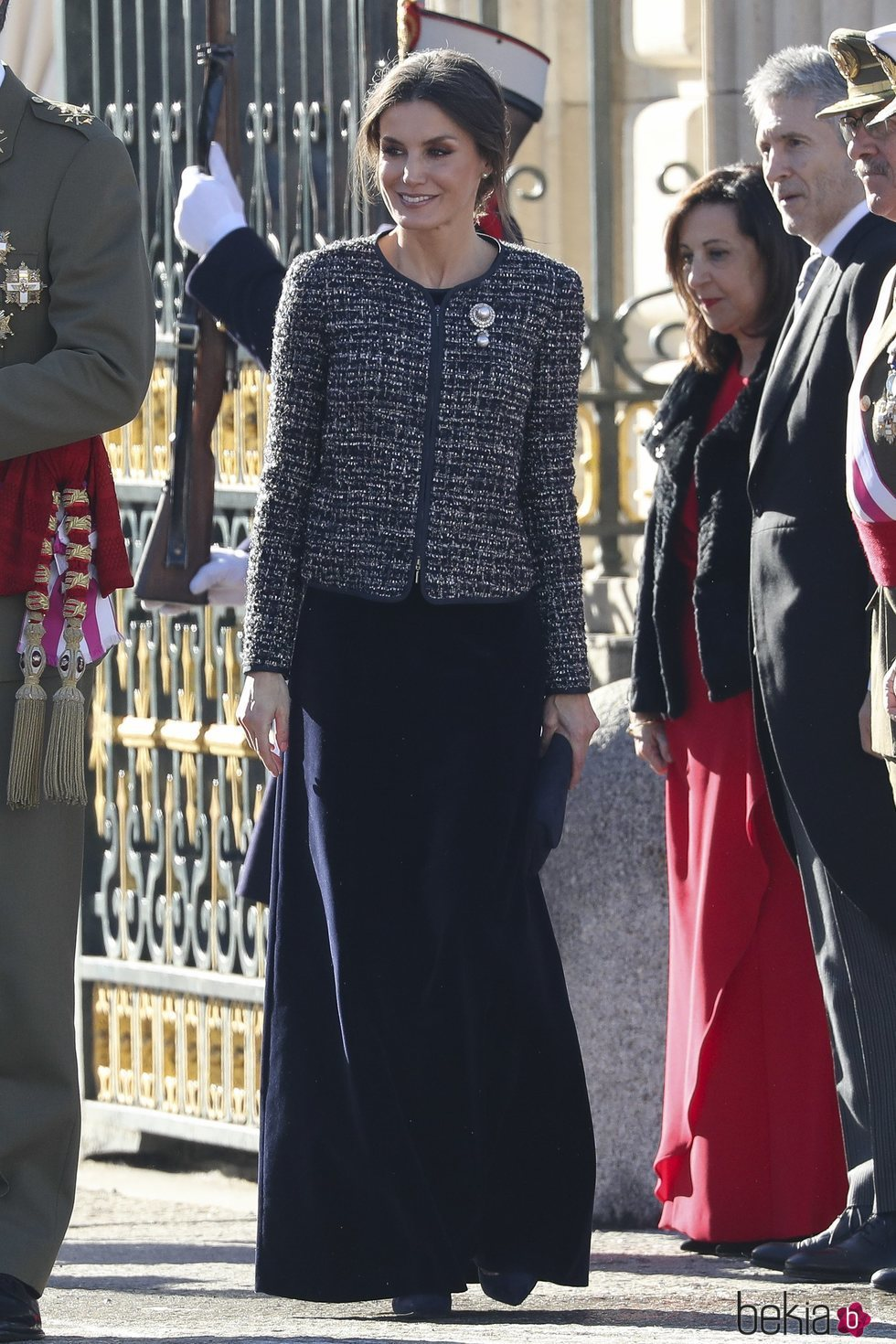 La Reina Letizia luciendo un conjunto de Felipe Varela en la Pascua Militar 2019