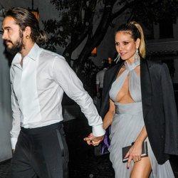 Heidi Klum y Tom Kaulitz saliendo de la fiesta de Warner Bros tras los Globos de Oro 2019