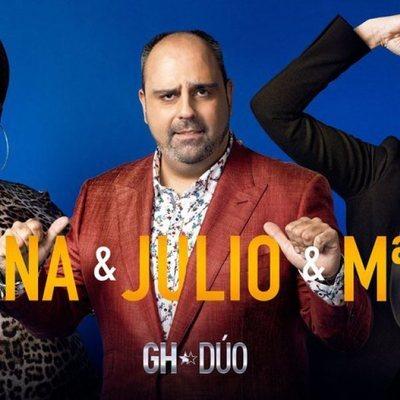Carolina Sobe, Julio Ruz y María Jesús Ruiz en la foto promocional de 'GH DÚO'