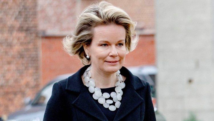 Matilde de Bélgica en el funeral del Conde de Lannoy
