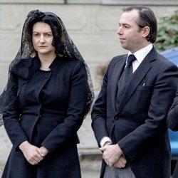 Guillermo y Stéphanie de Luxemburgo en el funeral del Conde de Lannoy