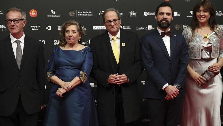 Jose Guirao, Isona Passola, Quim Torra, Roger Torrent y Laura Borras en los Premios Gaudí 2019