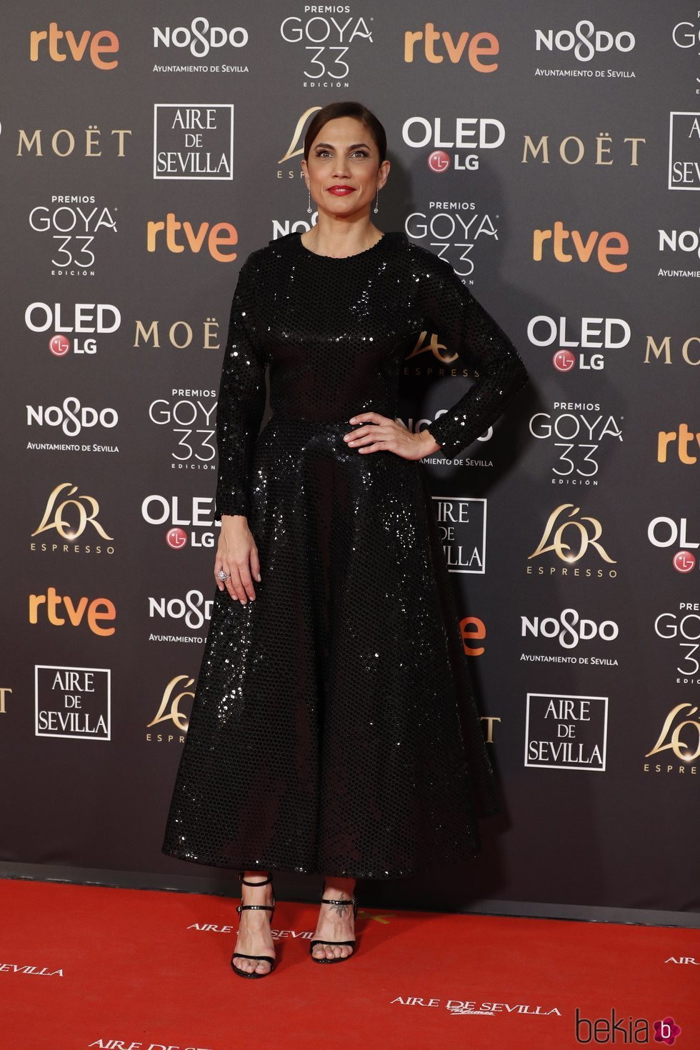 Toni Acosta en la alfombra roja de los Premios Goya 2019