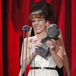 Eva Llorach recibiendo el Goya 2019 a la Mejor Actriz Revelación