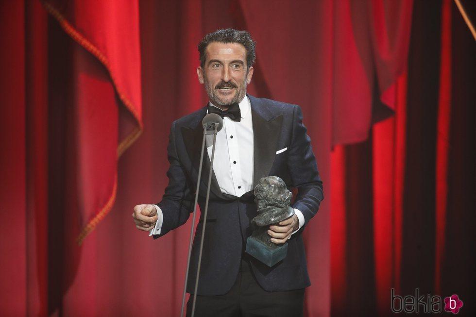 Luis Zahera recogiendo su premio en los Premios Goya 2019