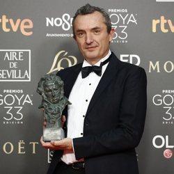 Juan Pedro de Gaspar posa con su estatuilla en los Premios Goya 2019