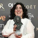 Arantxa Echevarría con su estatuilla en los Premios Goya 2019