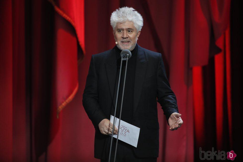 Pedro Almodóvar entregando uno de los galardones en los Premios Goya 2019