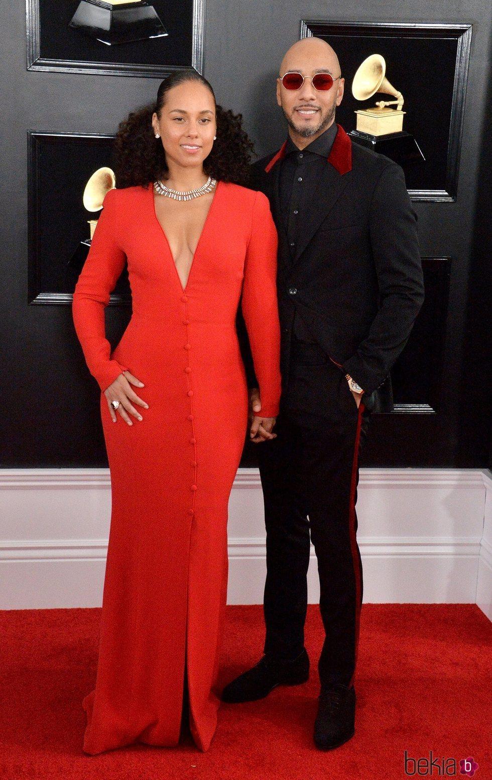 Alicia Keys y Swizz Beatz en la alfombra roja de los Grammy 2019