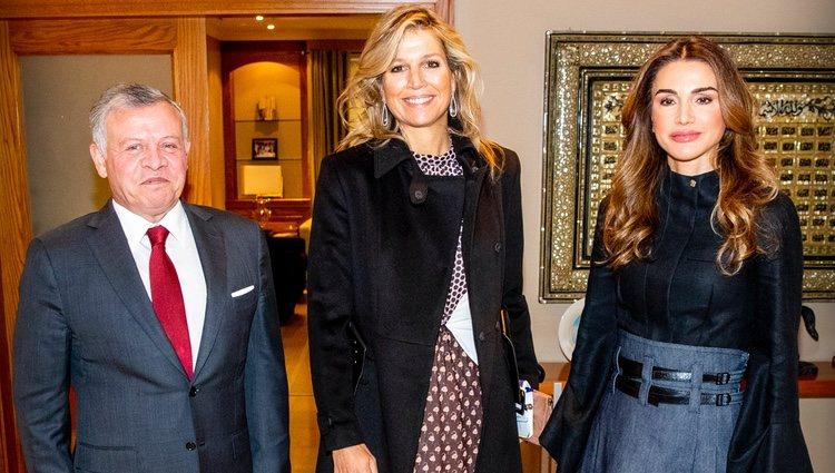Máxima de Holanda con Abdalá y Rania de Jordania en Amman