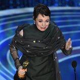 Olivia Colman recogiendo el Oscar 2019 a Mejor actriz