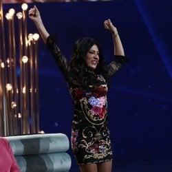 Maite Galdeano celebrando que Sofía Suescun ha sido la repescada de 'GH DÚO'
