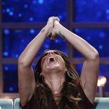 Anabel Pantoja celebrando que Kiko Rivera se ha salvado de la expulsión en la gala 9 de 'GH DÚO'