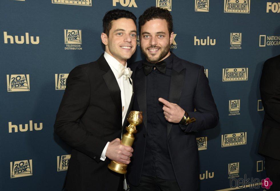 Rami Malek y su hermano Sami en la fiesta posterior a los Globos de Oro 2019