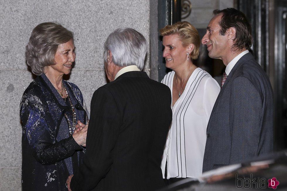 La Reina Sofía, Carlos Zurita y sus hijos Alfonso y María Zurita en el 80 cumpleaños de la Infanta Margarita