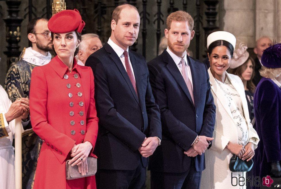 El Príncipe Guillermo y Kate Middleton y el Príncipe Harry y Meghan Markle en el Día de la Commonwealth 2019
